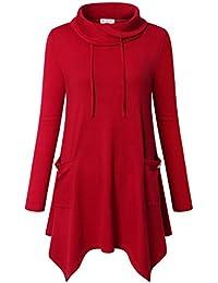 Women's Long Sleeve Cowl Neck Asymmetrical Hem Tunic Tops...