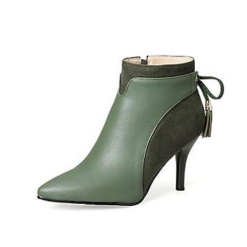 Heart&M Mujer Zapatos Semicuero Otoño Invierno Botas de Moda Botas Tacón Stiletto Dedo Puntiagudo Botines Hasta