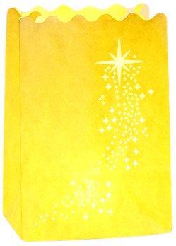 Wenko Lichtertüte Luminaria Shooting Star Windlicht, 8-er Set, Pappe Papier Zellstoff, 11 x 16 x 9 cm, weiß 8581100
