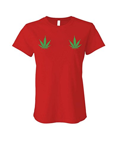 POT-LEAVES-ON-BOOBS-420-marijuana-weed-LADIES-Cotton-T-Shirt