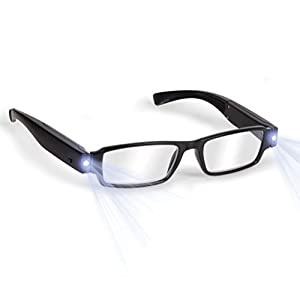 Bright LED Readers with Lights Reading Glasses Lighted Magnifier Nighttime Reader Compact Full Frame Eyewear Clear Vision Unisex Clear Vision Lighted Eye Glasses
