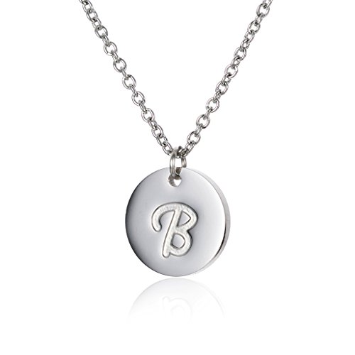 HUAN XUN Initials Necklace High Polished Stainless Steel Pendant Necklaces B