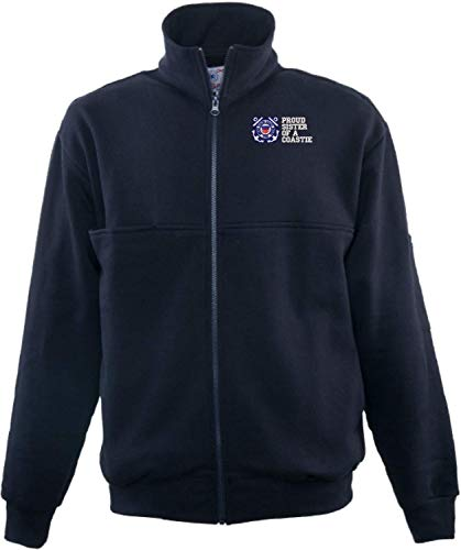 Firefighters Zip Turtleneck - Proud Sister of a Coastie U.S. Coast Guard Game Sportswear Firefighters Full Zip Turtleneck Navy