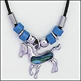 Blue Paua Shell Horse Necklace