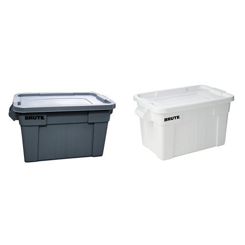Rubbermaid Commercial Brute Tote with Lid, 20-Gallon Capacity, Gray & White (FG9S3100GRAY & FG9S3100WHT) (Combo Pack)