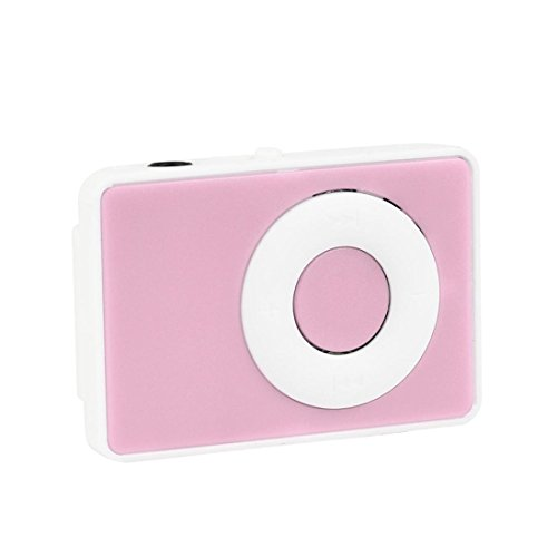 Mini MP3 Music Media Player Support 32GB Micro TF Card & Headset Clip USB Digital with Touch Tone (Pink)