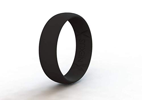NEXUS Silicone Wedding Ring for Men and Women, Thin, Affordable 7mm Metallic Silicone Rubber Wedding Bands, Comfortable Fit, Black, Blue Rose Gold, Silver, Gold, Copper, no Sweat. Safe