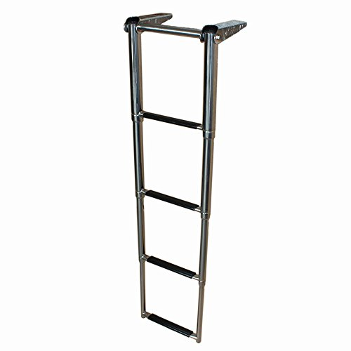 X-Haibei 4 Step Telescoping Folding Boat Marine Ladder Over Platform Boarding Swim Step Stainless Steel (Pontoon Ladder Swim)