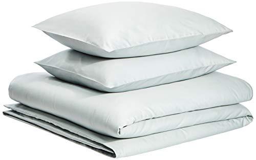 AmazonBasics Organic Sateen Cotton Duvet Set - King, Sage Green ()