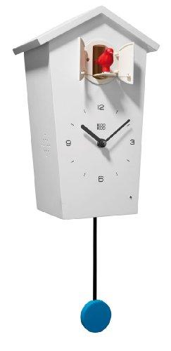 Cuckoo Pendulum - KOOKOO Birdhouse White, Wall Clock with 12 Natural Bird Voices or Cuckoo, Cuckoo Clock, Modern Design Songbird Clock with Pendulum, German Cuckoo Clock