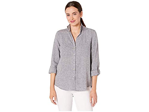 Jones New York Womens Upturned Collar Roll Tab Shirt Indigo LG (Women's 12-14)