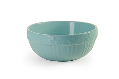 Signature Housewares Sorrento Collection Set of 2 Mixing Bowls 8-Inch and 9-Inch, Aqua (Bowl Mixing Set Stoneware)
