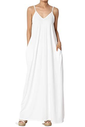 TheMogan Women's V-Neck Draped Jersey Cami Long Maxi Dress with Pocket Ivory - Dress Cami V-neck