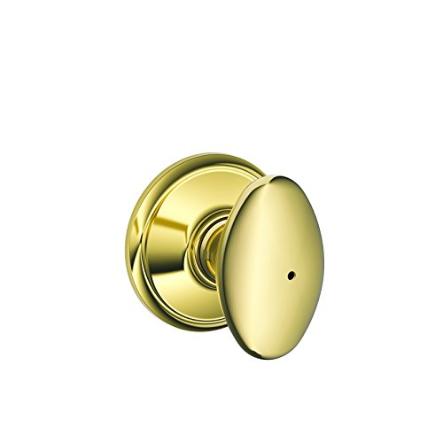 Schlage F40-SIE Siena Privacy Door Knob Set from the F-Series, Polished Brass x Polished Chrome