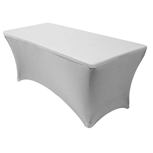Your Chair Covers - Rectangular Fitted Stretch Spandex Table Cover, Silver, 6' L ()