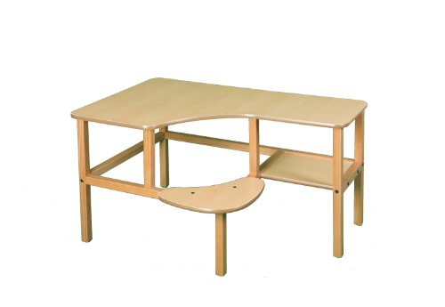 Grade School Computer Desk - Wild Zoo Furniture Childs Wooden Computer Desk for 1, Ages 2 to 5, Maple/Tan