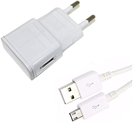 Theoutlettablet® Cargador de Pared USB con Cable Micro USB Blanco Wall Charger para Tablet Bq Edison 3 Aquaris M10 Aquaris E10 CurieFnac Tablet