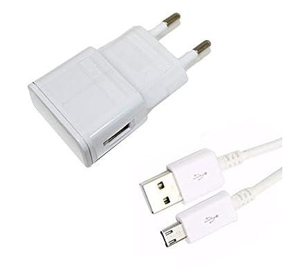 Theoutlettablet® Cargador de Pared USB con Cable Micro USB Blanco Wall Charger para Tablet Bq ...