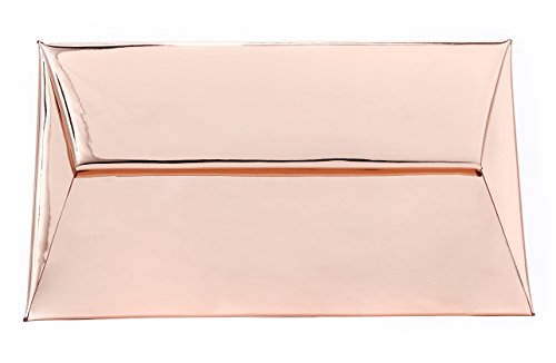 Bag Evening Pouch Metallic (BG-707-65 Metallic Mirror Reflective Envelope Evening Purse Clutch - Rose Gold)