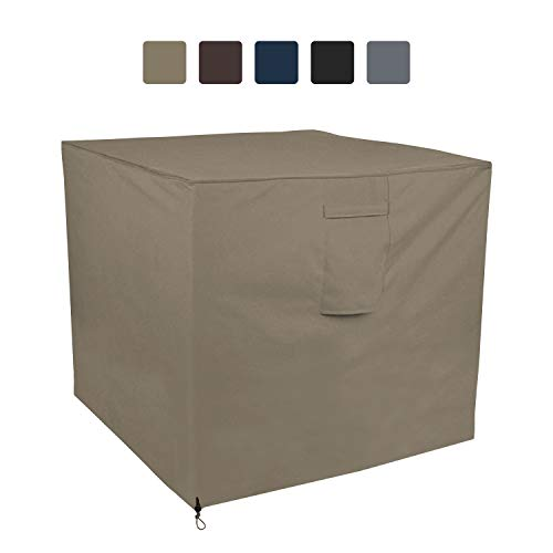 COVERS & ALL Air Conditioner Cover 12 Oz Waterproof - 100% UV & Weather Resistant PVC Coated Outdoor Furniture Cover with Air Pockets & Drawstring for Snug Fit (24W x 24D x 22H, Beige)