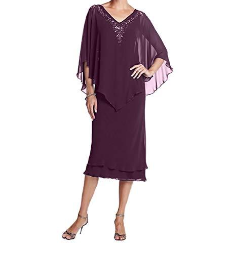 V Festlichkleider Partykleider Promkleider Kurz Ausschnitt Charmant Traube Chiffon Damen Brautmutterkleider nUaxqY7