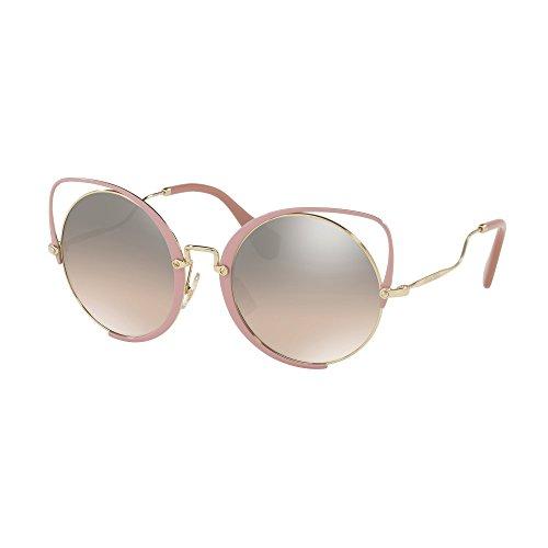 Miu Miu Women's 0MU 51TS Pale Gold/Antique Pink Glitter/Brown Gradient Mirror Silver One - Sunglasses Miu Miu Heart