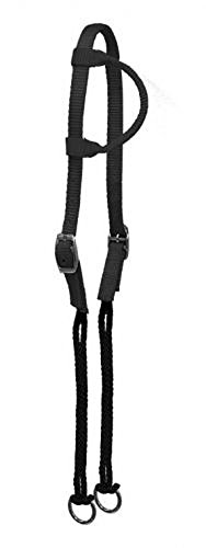 - Showman BLACK Nylon Single Ear Gag Rope Headstall Training Bridle Nickle Plate Buckles
