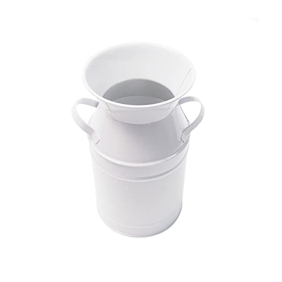 "Watering Honey Elegant White Small Primitive Jug Vase Galvanized Milk Can for Home Office Decor - Material galvanized iron,Color:White Measurement: Height 7.48""(19cm) , Base Diameter:4.13""(10.5cm),Diameter:3.95""(10cm) Bring the trendy French country flair vase to decorate your home or balcony or garden, you will find that it bring your home more special, Elegant ,chic and Vintage. - vases, kitchen-dining-room-decor, kitchen-dining-room - 31wsLSqvcIL. SS570  -"