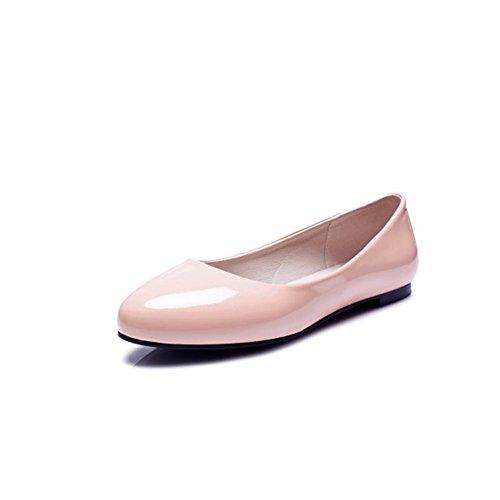 SHINIK Zapatos de mujer Artificial PU primavera verano Comfort boca baja Zapatos individuales para mujer Zapatos planos blanco rojo negro rosa D
