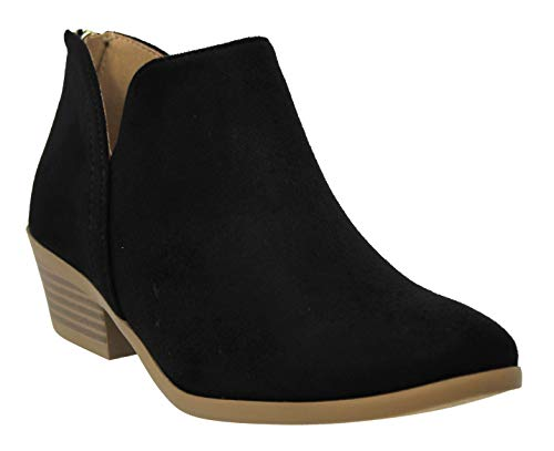 MVE Shoes Cute Western Cowboy Bootie - Womens Pointed Toe Slip on Ankle Boot -Back Zip up Low Heel Black 8]()
