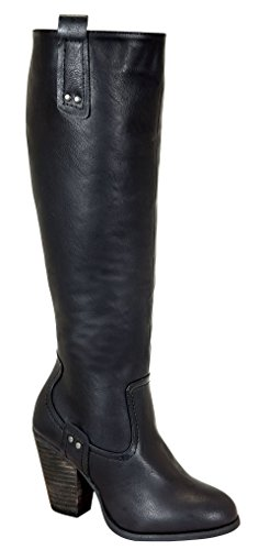 Ingrid-11 Women's Closed Round Toe Chunky Heeled Knee High Boots with Zipper Black 10 (Fancy Dress Boots)