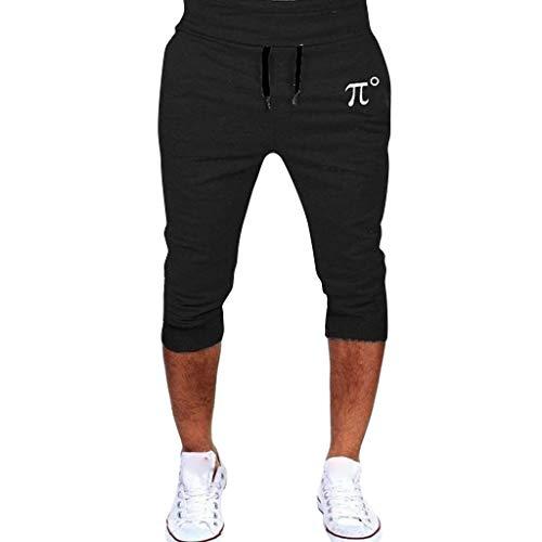 khdug✿Shorts for Men, Hawaiian Summer Beach Sports Running Hip Hop Trousers Casual Sports Cropped Pant Black