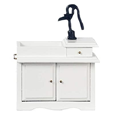Melody Jane Dollhouse White Victorian Sink Unit with Hand Pump Miniature Kitchen Furniture: Toys & Games