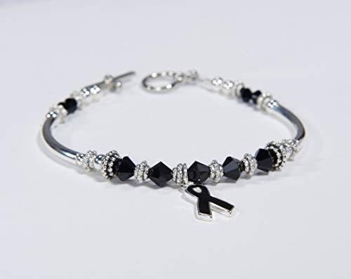 (Black Ribbon Charm Bracelet: Awareness for Melanoma, Skin Cancer Awareness, Sleep Disorders, Anti-Terrorism // support, survivor // crystals. #01)