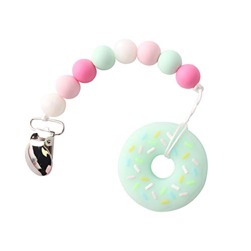 Soft Teething Beads - Biter teether Bpa Free Silicone Beads Pacifier Clip with Donut Pendant Baby Teether Accessories Soft Teething Soother