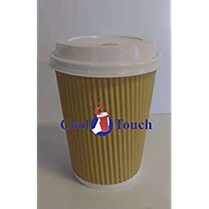 Cool Touch - Rippled Pre Sleeved Hot Cold Coffee Drink Cups (40, 12oz Cups & Lids)