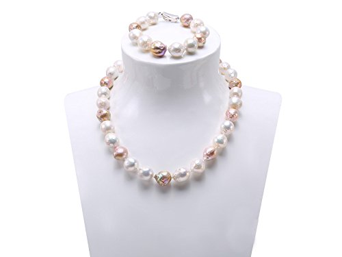 JYX 12-14mm Freshwater Cultured Baroque Pearl Necklace Bracelet Set