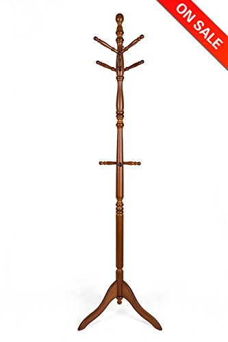 Vlush Free Standing Coat Rack Solid Rubber Wood Hall Tree Coat Tree with Tripod Base,10 Hooks(Coffee)