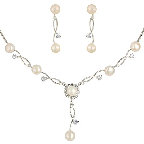 EleQueen Women's Silver-Tone Cubic Zirconia Simulated Pearl Bridal Necklace Earrings Set, Ivory Color (Real Pearl Jewelry Sets For Women)