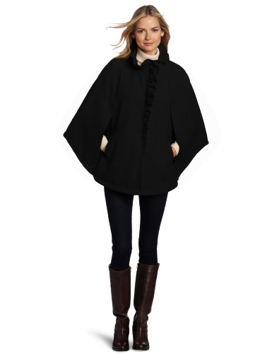 Images of Womens Black Cape Coat - Reikian