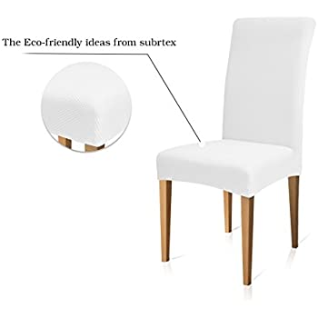 Subrtex Stretch Dining Room Chair Slipcovers (4, White Knit)