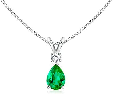 Emerald Teardrop Pendant with Diamond (6x4mm Emerald)