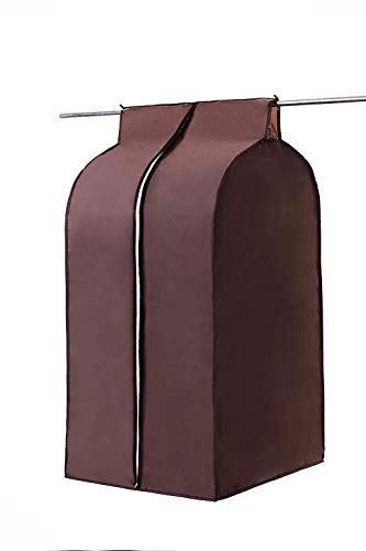 Large Coffee Oxford Wardrobe, Hanging Clothing Closet Storage Bag, Jumbo Garment Cover Bag, Wardrobe Closet Organizer Protector with Full Smooth Zipper and Magic Tape (HZC71-F)