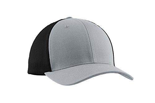 Port Authority Men's Flexfit Mesh Back Cap L/XL Silver/Black (Port Hat Flexfit Authority Mens)