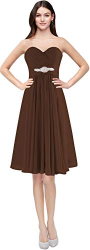 Brown Dress Bridesmaid - ThaliaDress Womens Short Chiffon Sweetheart Bridesmaid Dress Homecoming Gown T003LF Chocolate US2