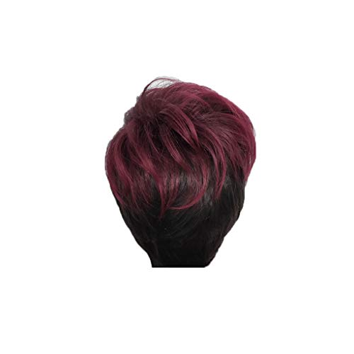 FeiFei66 Wig Black Women Natural Party Cosplay Red Short Wave Sexy Curly Wavy Synthetic Wigs,11.8 Inch -