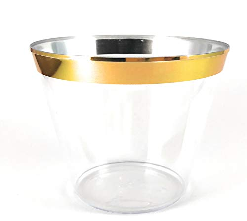 TachzH 100 Gold Rimmed Plastic Cups ~ 9 oz Clear Plastic Cups Old Fashioned Tumblers ~ Disposable Wedding Cups ~ Fantastic Party Cups With Gold Rim (Gold)
