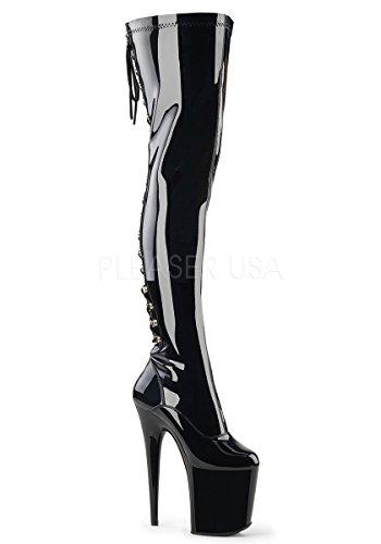 Pleaser FLAMINGO-3063 Women's Platform Lace-Up Back Stretch Thigh High Boot, Color Black STR Patent/Black, Size:8 (Boots Thigh Stretch Patent)