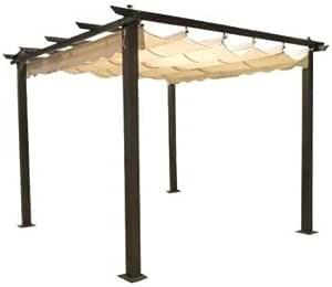 Carpa de 3 x 3 metros, postes de aluminio, veranda, pérgola, cubierta, tela corredera, para jardín: Amazon.es: Jardín