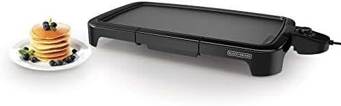 BLACK+DECKER GD2011B Family Sized Electric Griddle, 20 x 11-Inch, Black